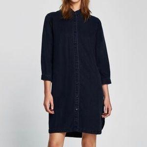 Zara Denim Button Up Shirt Dress Blue Size XS EUC